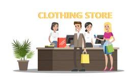 Счастливые люди стоя на счетчике в магазине иллюстрация вектора