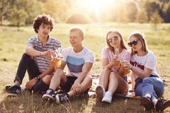 Счастливые мальчики и девушки празднуют что-то, clink бутылки пива во время пикника, имеют положительные выражения, наслаждаются  стоковые изображения