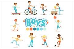Счастливые мальчики и их предпологаемое классическое поведение при практики спорта активных игр установленные традиционной мужско бесплатная иллюстрация
