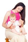 Счастливые мама и младенец Стоковая Фотография RF
