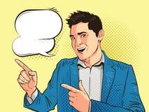 Счастливые молодой человек, бизнесмен или студент, нарисованные в стиле искусства шипучки ретро шуточном Иллюстрация вектора слен бесплатная иллюстрация