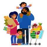 Счастливые молодые покупки семьи Отец, мать и дети с хозяйственными сумками и магазинной тележкаой вектор бесплатная иллюстрация