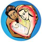 Счастливые молодые родители обнимая небольшую иллюстрацию младенца бесплатная иллюстрация