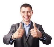 Счастливые молодые руки бизнесмена делают большие пальцы руки вверх Стоковая Фотография