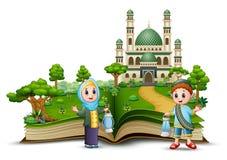 Счастливые мусульманские дети держа традиционные фонарики в фронте мечеть раскрытой книги иллюстрация вектора