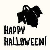 Счастливые название и призрак хеллоуина на белизне стоковое изображение
