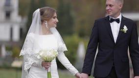 Счастливые новобрачные идя в парк Элегантные невеста и handome холят снаружи акции видеоматериалы