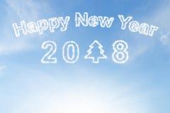 Счастливые облако и солнечность Нового Года 2018 на небе Стоковая Фотография RF
