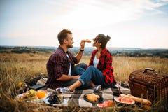 Счастливые пары влюбленности на пикнике в лете field стоковая фотография