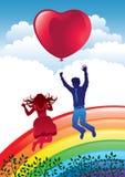 Счастливые пары в влюбленности иллюстрация вектора