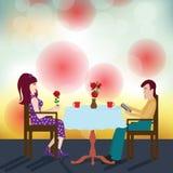 Счастливые пары на дате в restaurent иллюстрация вектора