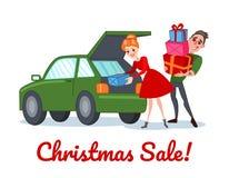 Счастливые пары на продаже рождества Покупки семьи на зимних отдыхах Человек и женщина с подарками Стоковое фото RF