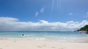 Счастливые пары ослабляя на пляже сток-видео