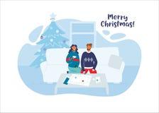 Счастливые пары празднуя рождество совместно дома Характеры на зимних отдыхах с рождественской елкой бесплатная иллюстрация