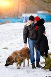 Счастливые пары с собаками в моментах леса зимы симпатичных внешних стоковые фото