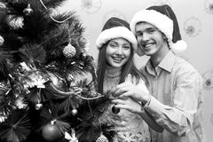 Счастливые пары, cristmas Стоковое Фото