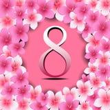 Счастливые поздравительная открытка дня ` s женщин, женщины и текст 8-ое марта иллюстрация вектора