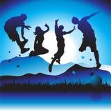 счастливые полуночные люди партии Стоковые Изображения RF