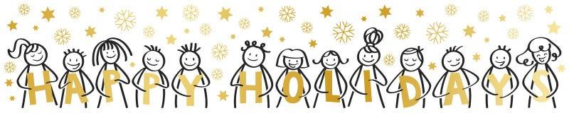Счастливые праздники, веселое рождество, счастливые диаграммы ручки усмехаясь и смеясь, держа золотые письма, со снежинками, звез бесплатная иллюстрация