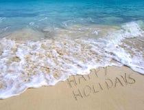 Счастливые праздники отправляют SMS на пляже океана стоковое фото rf