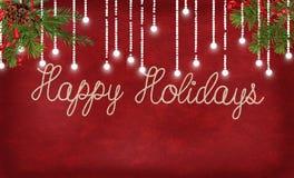 Счастливые праздники rope дизайн с светами и сосной Стоковое фото RF