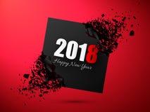 Счастливые предпосылка Нового Года 2018 абстрактная Знамя с влиянием взрыва Стоковые Изображения