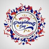 Счастливые президенты День Знамя Предпосылка и поздравительные открытки также вектор иллюстрации притяжки corel бесплатная иллюстрация