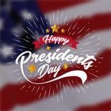 Счастливые президенты День Знамя Предпосылка и поздравительные открытки также вектор иллюстрации притяжки corel иллюстрация штока