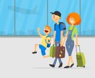 Счастливые родители и их сын путешествуя вместе с багажом на иллюстрации вектора предпосылки аэропорта бесплатная иллюстрация