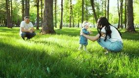 Счастливые родители наблюдают, как их ребенок делает первые шаги на зеленой траве в саде видеоматериал