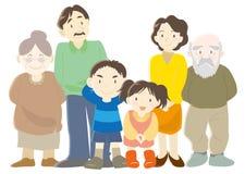 Счастливые родители семей, дети и тип b деда иллюстрация штока