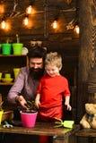 Счастливые садовники с цветками весны бородатая природа любов ребенка человека и мальчика Мочить заботы цветка Почва стоковое изображение rf