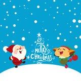 Счастливые Санта Клаус и эльф Стоковые Фото