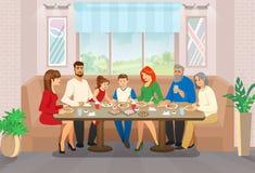 Счастливые семейное торжество и момент жизни свободного времени иллюстрация штока