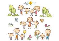 Счастливые семьи установили с детьми, иллюстрацией вектора бесплатная иллюстрация