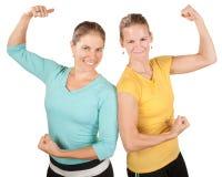 Счастливые сильные женщины стоковое фото rf