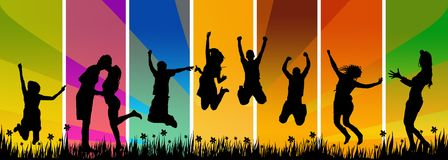счастливые скача детеныши людей Стоковые Фото