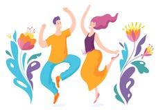 Счастливые скача люди которые достигают цель иллюстрация вектора