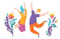 Счастливые скача люди которые достигают цель бесплатная иллюстрация