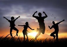 счастливые скача люди иллюстрация штока