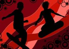 счастливые скейтбордисты Стоковые Фото