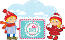 Счастливые смешные малыши с письмами праздников. Стоковые Фото