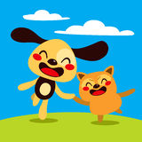 Счастливые собака и кот Стоковые Фото