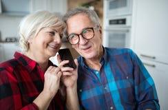 Счастливые старшие пары имея телефонный разговор стоковая фотография rf