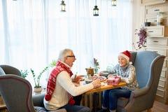 Счастливые старшие пары празднуя праздники рождества стоковое фото