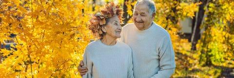 Счастливые старые пары имея потеху на парке осени Пожилой человек нося венок листьев осени к его пожилому ЗНАМЕНИ жены стоковое фото rf