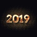 Счастливые темнота Нового Года 2019 и предпосылка золота иллюстрация вектора