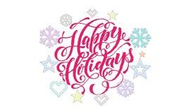 Счастливые украшения шрифта и вышивки каллиграфии праздников для поздравительной открытки конструируют Олени, снежинка и Новый Го Стоковое Изображение