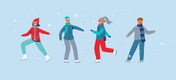 Счастливые характеры катаясь на коньках на катке Конькобежцы людей сезона зимы Жизнерадостные человек и женщина в одеждах зимы иллюстрация штока