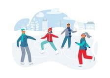 Счастливые характеры катаясь на коньках на катке Конькобежцы людей сезона зимы Жизнерадостные человек и женщина в одеждах зимы иллюстрация вектора